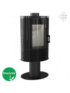 piec wolnostojący koza ab s/n/o glass obrotowa z wylotem spalin fi 150 z panelami kaflowymi - czarny